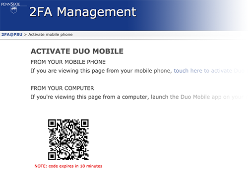 Screen shot of a QR code used to activate a mobile device