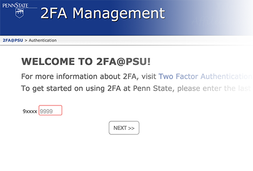 Screen shot of the Penn State 2FA sign-up page